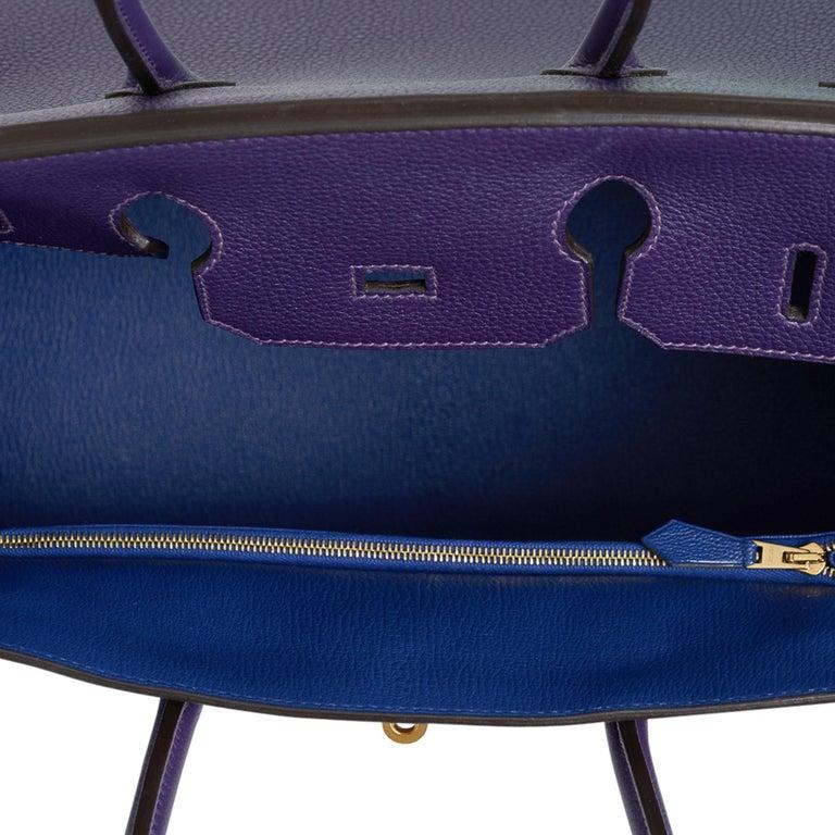 Hermes Birkin 35 Bag HSS Iris / Electric Blue Togo Brushed Gold Hardware New w/B For Sale 3