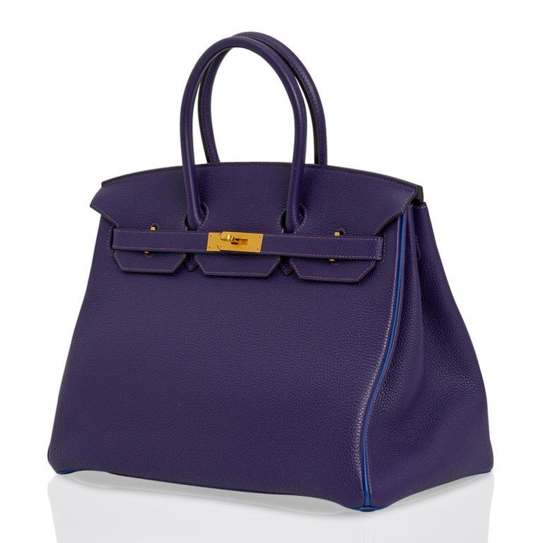Hermes Birkin 35 Bag HSS Iris / Electric Blue Togo Brushed Gold Hardware New w/B For Sale 4