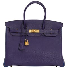 Hermes Birkin 35 Bag HSS Iris / Electric Blue Togo Brushed Gold Hardware