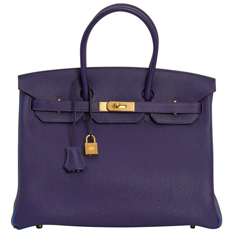 Hermes Birkin 35 Bag HSS Iris / Electric Blue Togo Brushed Gold Hardware For Sale