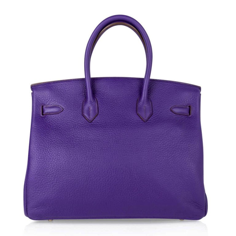 Hermes Birkin 35 Bag HSS Purple Iris Bois de Rose Clemence Gold Hardware For Sale 6