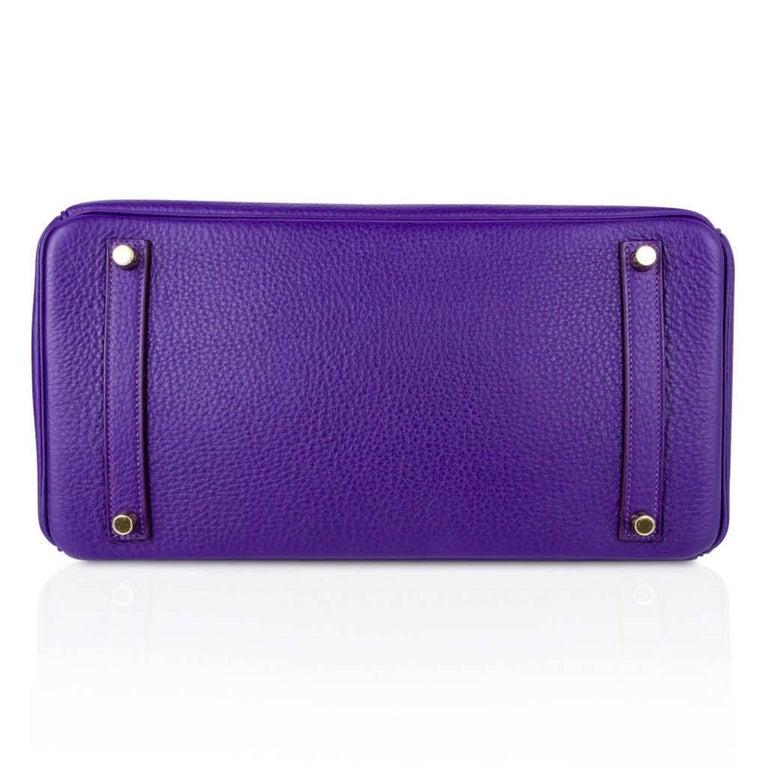 Hermes Birkin 35 Bag HSS Purple Iris Bois de Rose Clemence Gold Hardware For Sale 7
