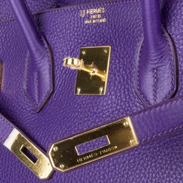 Hermes Birkin 35 Bag HSS Purple Iris Bois de Rose Clemence Gold Hardware In New Condition For Sale In Miami, FL