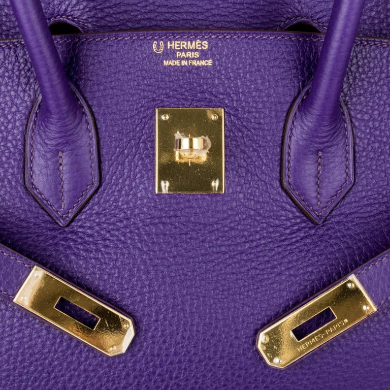 Women's Hermes Birkin 35 Bag HSS Purple Iris Bois de Rose Clemence Gold Hardware For Sale