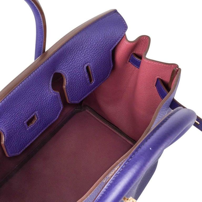 Hermes Birkin 35 Bag HSS Purple Iris Bois de Rose Clemence Gold Hardware For Sale 1