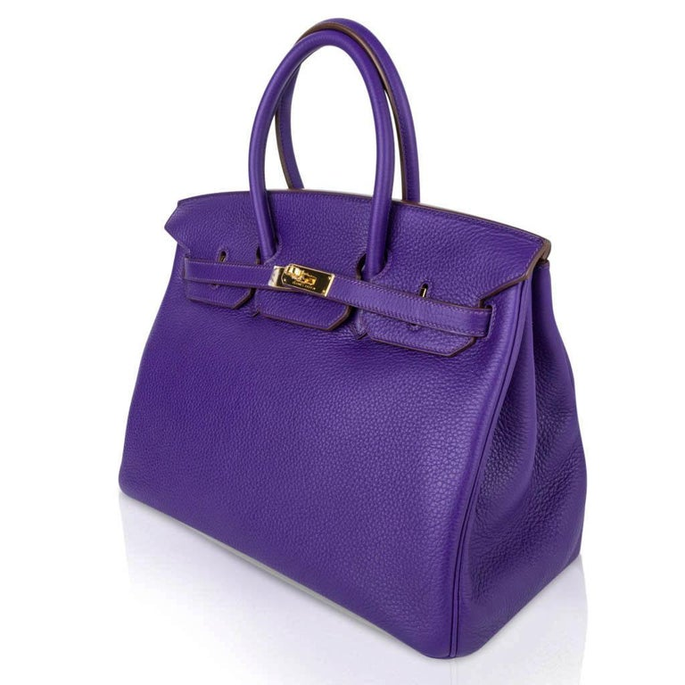 Hermes Birkin 35 Bag HSS Purple Iris Bois de Rose Clemence Gold Hardware For Sale 2