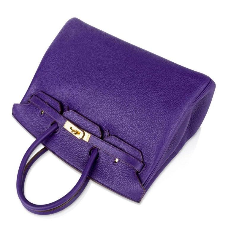 Hermes Birkin 35 Bag HSS Purple Iris Bois de Rose Clemence Gold Hardware For Sale 3