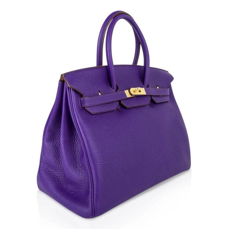 Hermes Birkin 35 Bag HSS Purple Iris Bois de Rose Clemence Gold Hardware For Sale 4