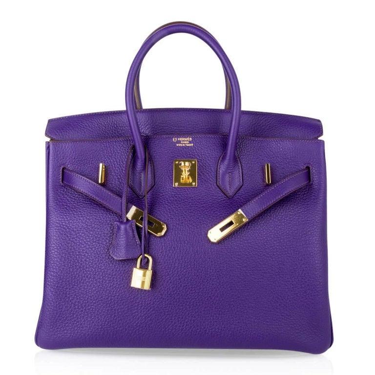Hermes Birkin 35 Bag HSS Purple Iris Bois de Rose Clemence Gold Hardware For Sale 5