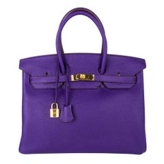 Hermes Birkin 35 Bag HSS Purple Iris Bois de Rose Clemence Gold Hardware
