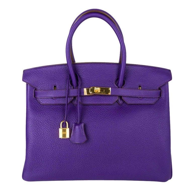 Hermes Birkin 35 Bag HSS Purple Iris Bois de Rose Clemence Gold Hardware For Sale
