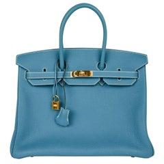 Hermes Birkin 35 Bag Iconic Blue Jean Togo Gold Hardware Rare