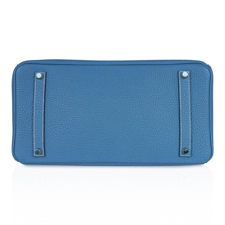 Hermes Birkin 35 Bag Iconic Blue Jean Togo Leather Gold Hardware New Rare For Sale 6