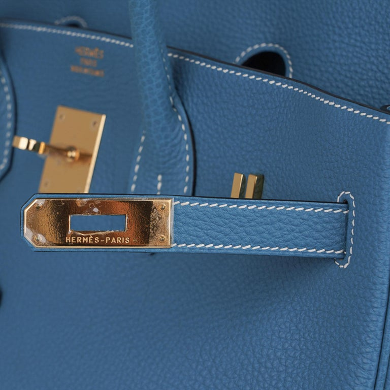 Hermes Birkin 35 Bag Iconic Blue Jean Togo Leather Gold Hardware New Rare In New Condition For Sale In Miami, FL