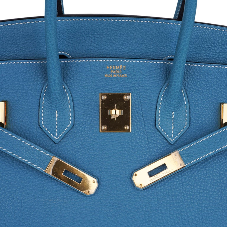 Women's Hermes Birkin 35 Bag Iconic Blue Jean Togo Leather Gold Hardware New Rare For Sale