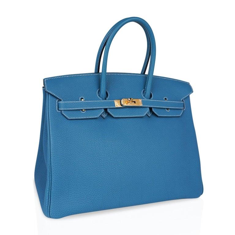 Hermes Birkin 35 Bag Iconic Blue Jean Togo Leather Gold Hardware New Rare For Sale 1