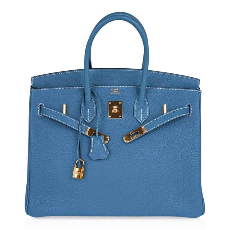Hermes Birkin 35 Bag Iconic Blue Jean Togo Leather Gold Hardware New Rare For Sale 4
