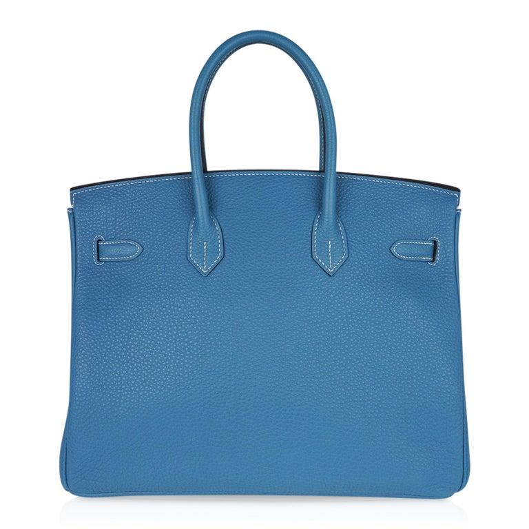 Hermes Birkin 35 Bag Iconic Blue Jean Togo Leather Gold Hardware New Rare For Sale 5