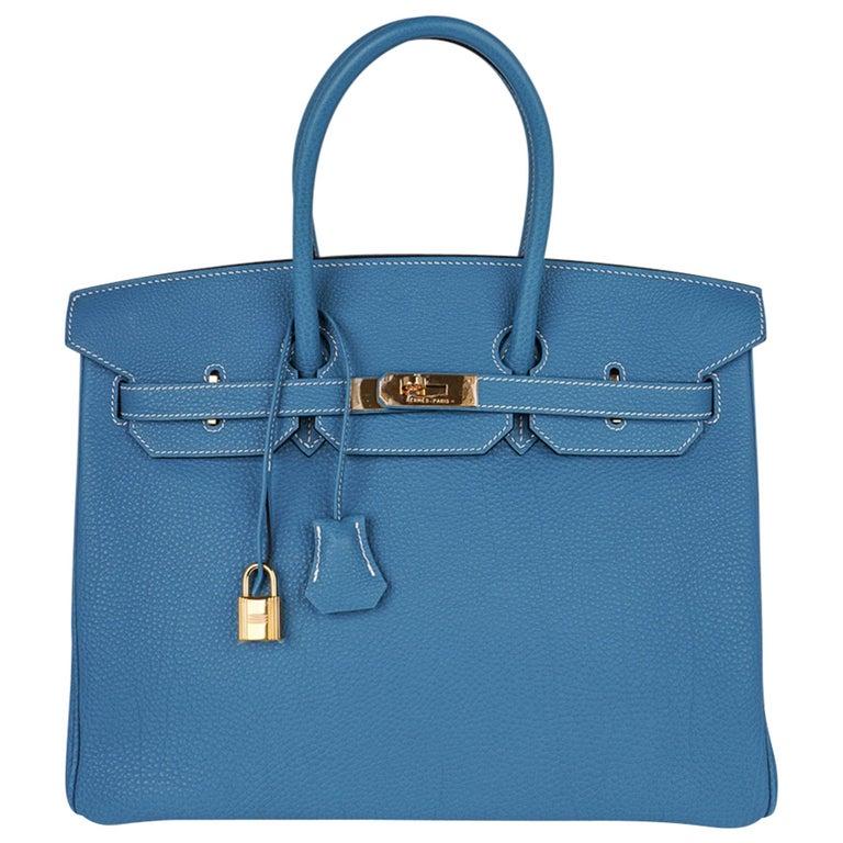 Hermes Birkin 35 Bag Iconic Blue Jean Togo Leather Gold Hardware New Rare For Sale