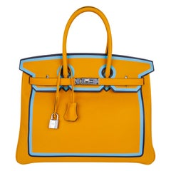 Hermes Birkin 35 Bag Jaune Ambre Blue Indigo Blue Celeste Limited Edition New