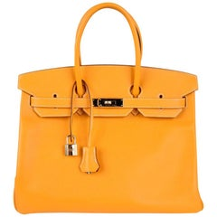 Hermes Birkin 35 Bag Jaune D'Or Yellow Candy Limited Edition Epsom Permabrass
