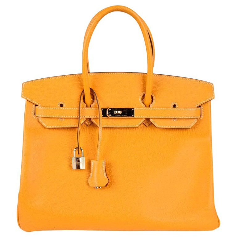 Hermes Birkin 35 Bag Jaune D'Or Yellow Candy Limited Edition Epsom Permabrass   For Sale