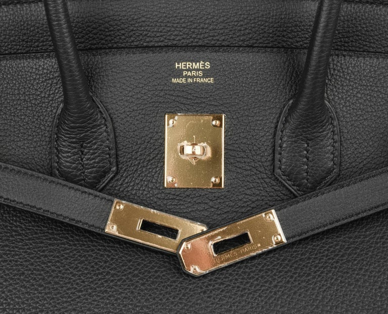 Hermes Birkin 35 Bag Limited Edition Plomb (Off Black) Togo Gold Hardware  In New Condition For Sale In Miami, FL