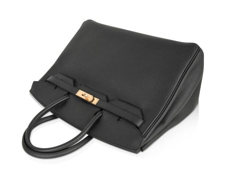 Women's Hermes Birkin 35 Bag Limited Edition Plomb (Off Black) Togo Gold Hardware  For Sale