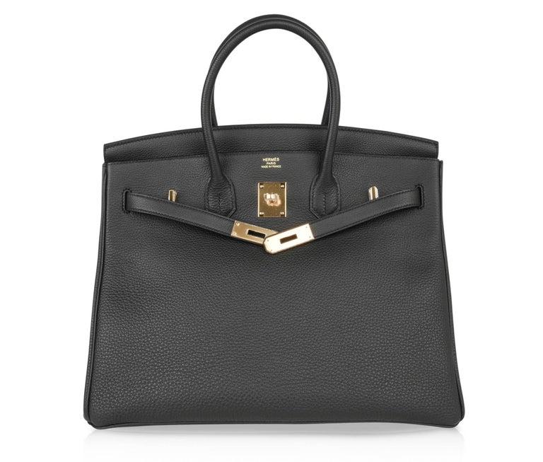 Hermes Birkin 35 Bag Limited Edition Plomb (Off Black) Togo Gold Hardware  For Sale 1