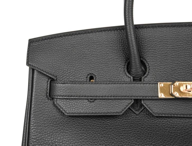 Hermes Birkin 35 Bag Limited Edition Plomb (Off Black) Togo Gold Hardware  For Sale 2