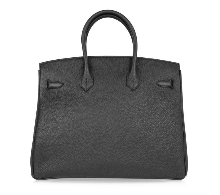 Hermes Birkin 35 Bag Limited Edition Plomb (Off Black) Togo Gold Hardware  For Sale 3