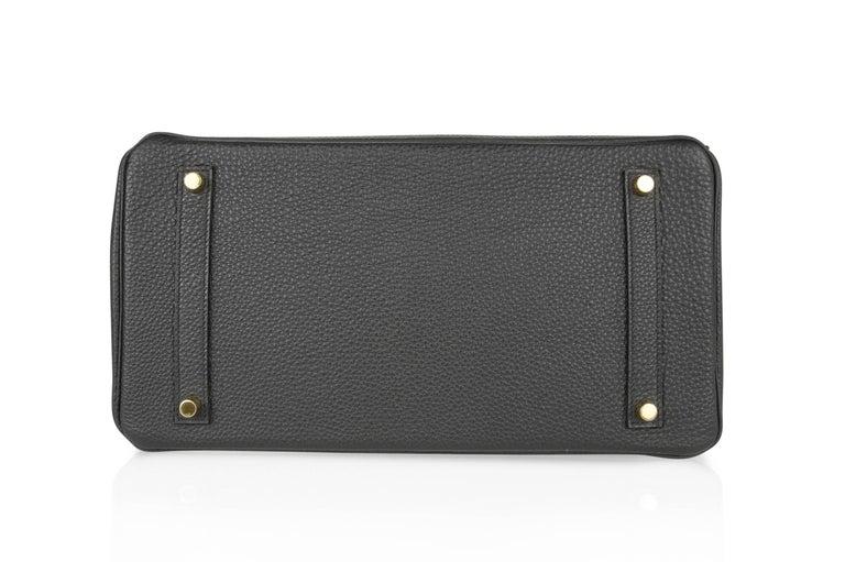 Hermes Birkin 35 Bag Limited Edition Plomb (Off Black) Togo Gold Hardware  For Sale 4
