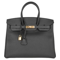 Hermes Birkin 35 Bag Limited Edition Plomb (Off Black) Togo Gold Hardware