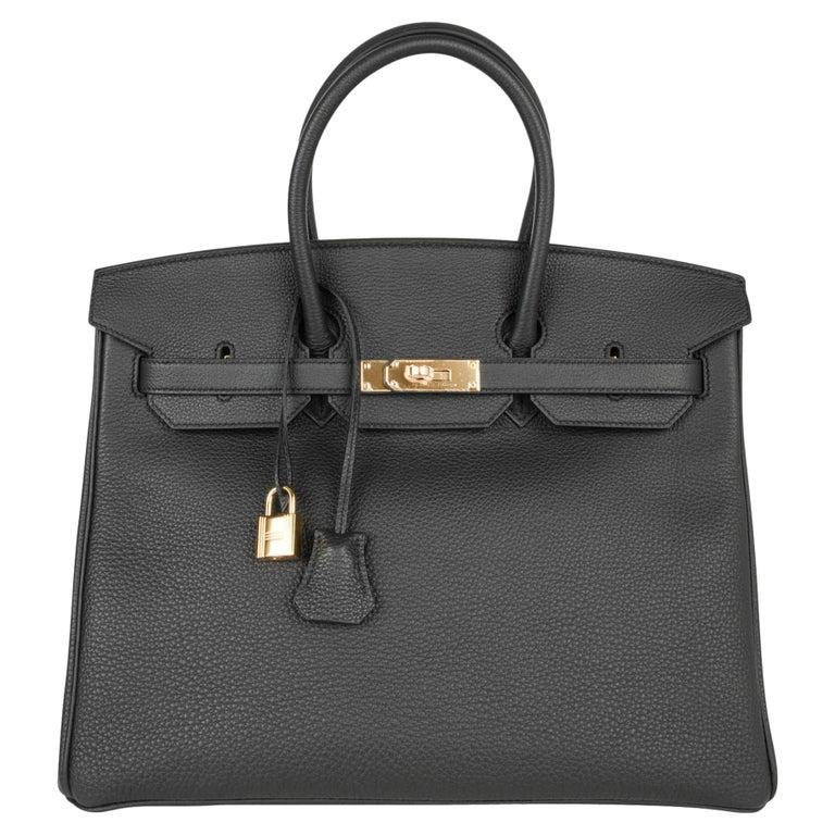 Hermes Birkin 35 Bag Limited Edition Plomb (Off Black) Togo Gold Hardware  For Sale