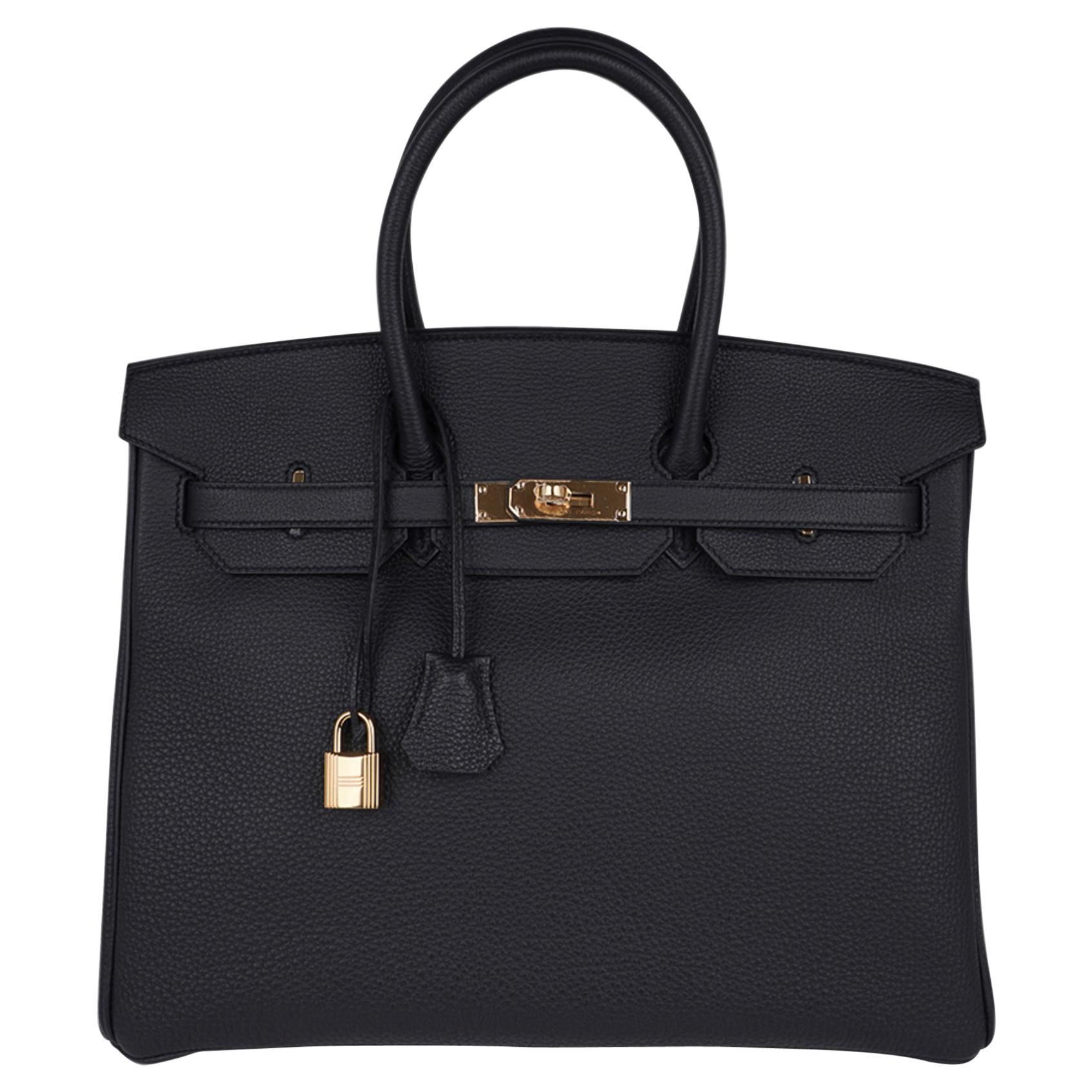 Hermes Birkin 35 Bag Limited Edition Plomb (Off Black) Togo Gold Hardware