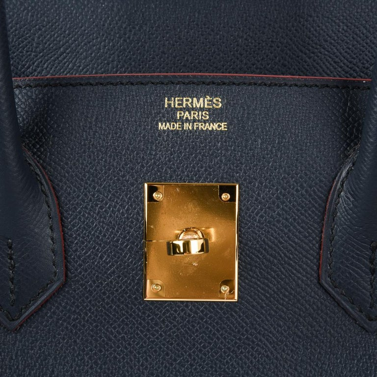 Hermes Birkin 35 Bag Navy Indigo w/ Rouge Contour Limited Edition Epsom Gold  In New Condition For Sale In Miami, FL