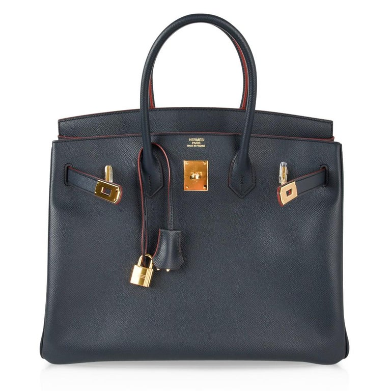 Hermes Birkin 35 Bag Navy Indigo w/ Rouge Contour Limited Edition Epsom Gold  For Sale 4