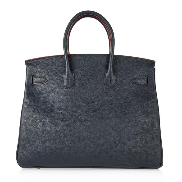 Hermes Birkin 35 Bag Navy Indigo w/ Rouge Contour Limited Edition Epsom Gold  For Sale 5