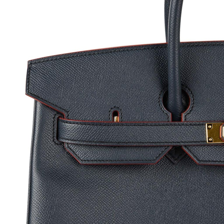 Hermes Birkin 35 Bag Navy Indigo w/ Rouge Contour Limited Edition Epsom Gold  For Sale 3