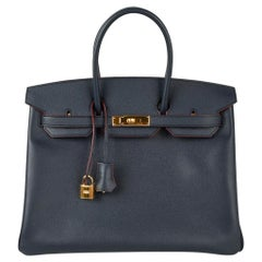 Hermes Birkin 35 Bag Navy Indigo w/ Rouge Contour Limited Edition Epsom Gold