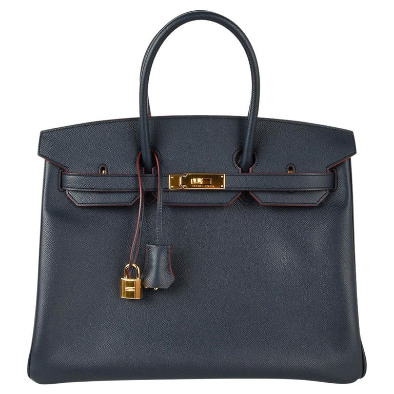 Hermes Birkin 35 Bag Navy Indigo w/ Rouge Contour Limited Edition Epsom Gold  For Sale