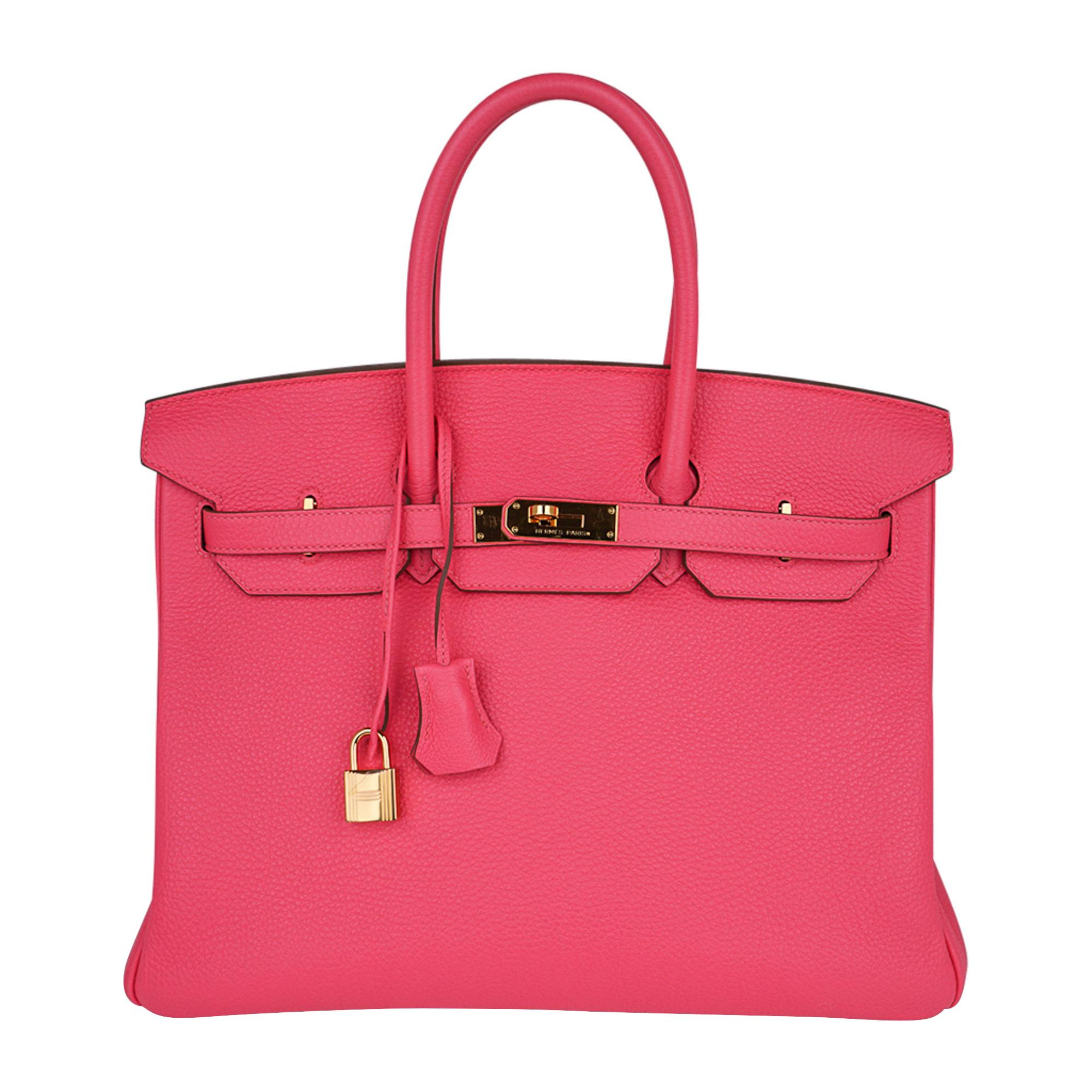 Hermes Birkin 35 Bag Pink Rose Lipstick Togo Gold Hardware