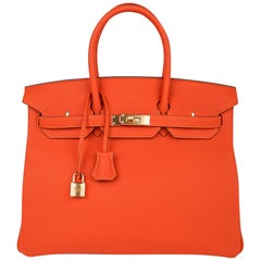 Hermes Birkin 35 Bag Rare Feu Orange Togo Gold Hardware