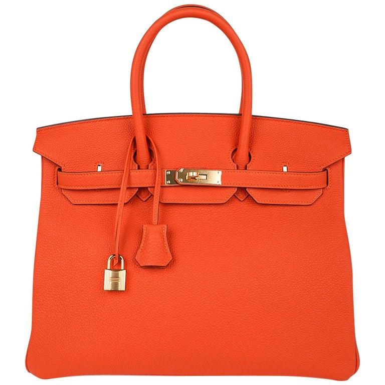 Hermes Birkin 35 Bag Rare Feu Orange Togo Gold Hardware