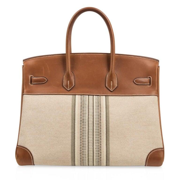 Hermes Birkin 35 Bag Rare H Ganges Toile Barenia Limited Edition Palladium  For Sale 5