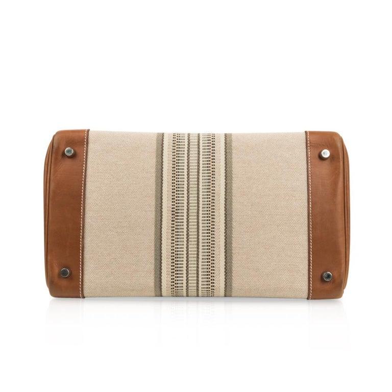 Hermes Birkin 35 Bag Rare H Ganges Toile Barenia Limited Edition Palladium  For Sale 6