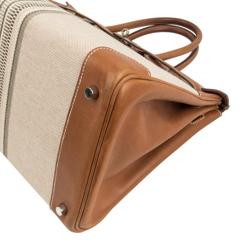Hermes Birkin 35 Bag Rare H Ganges Toile Barenia Limited Edition Palladium  For Sale 7