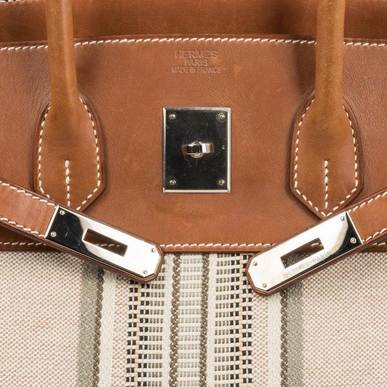 Beige Hermes Birkin 35 Bag Rare H Ganges Toile Barenia Limited Edition Palladium  For Sale