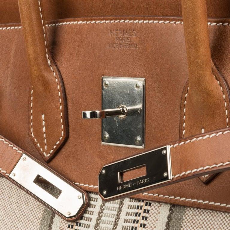 Hermes Birkin 35 Bag Rare H Ganges Toile Barenia Limited Edition Palladium  In Good Condition For Sale In Miami, FL