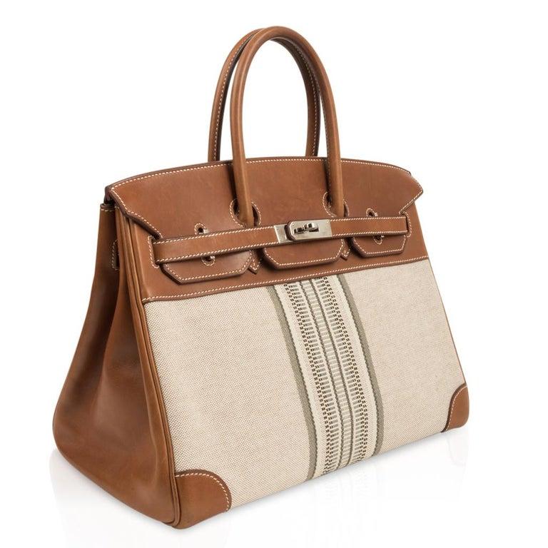 Women's Hermes Birkin 35 Bag Rare H Ganges Toile Barenia Limited Edition Palladium  For Sale